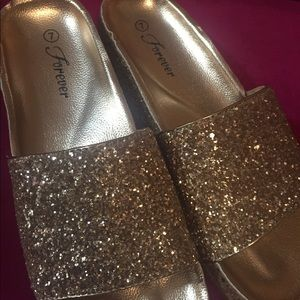 Slip on rose gold glitter sandals size 7